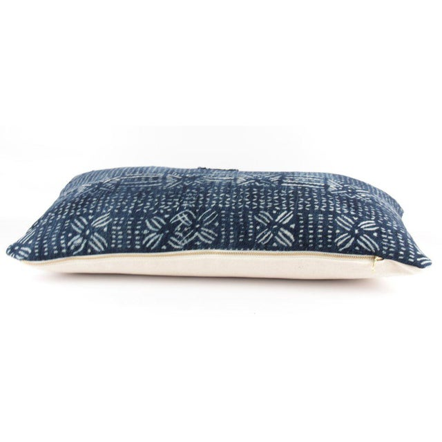 African Botanical Blue Mudcloth Pillow For Sale - Image 3 of 4