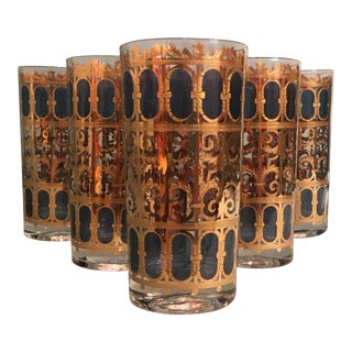 Mid-Century Culver Scroll Pattern Tumbler Glasses - Set of 6 For Sale