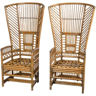 1970s Vintage High Back Rattan Armchairs- a Pair