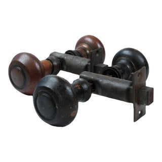 Antique Solid Brass Door Knobs With Latches - a Pair For Sale