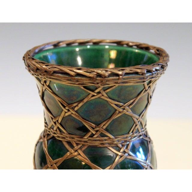 Ceramic Antique Awaji Pottery Gu Form Vase Brass Weaving For Sale - Image 7 of 10