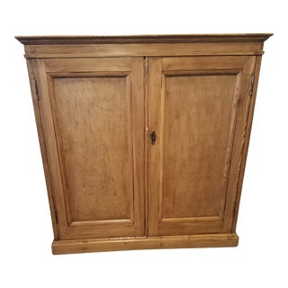 1900s Antique Pine Cupboard With Key For Sale