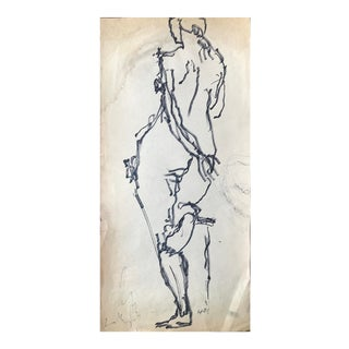 1960s Bay Area Artist Contour Nude Ink Drawing For Sale