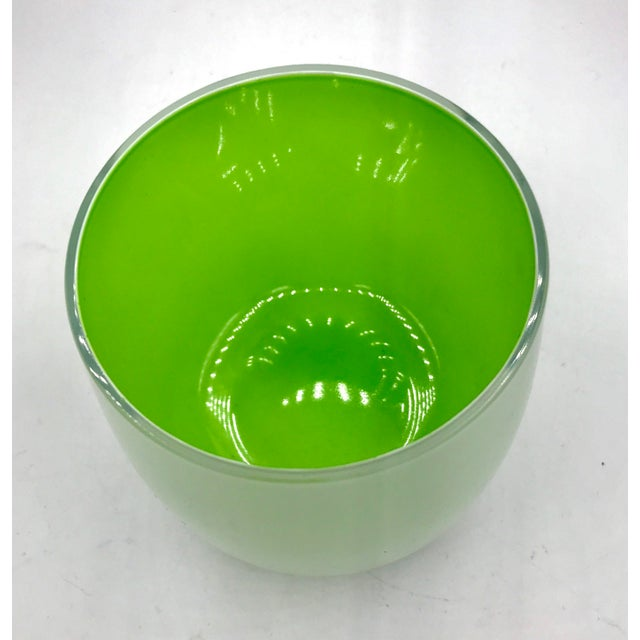 1990s Vintage Nachtmann Signed Cased White & Lime Crystal Vase For Sale In New York - Image 6 of 9