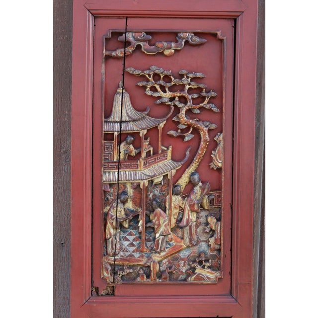 Two Unusual Antique Oriental Red And Gilt Lacquered Wood Panels Moderate Price Other Asian Antiques