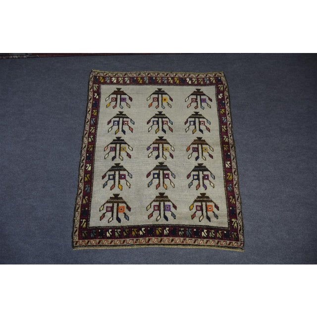 "Vintage Turkish Anatolian Decorative Rug - ′3'10""x4'6"" For Sale - Image 6 of 10"
