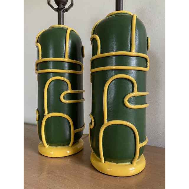 Ceramic Late 1940s Pottery Ceramic Lamps by Ugo Zaccagnini - a Pair For Sale - Image 7 of 11