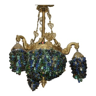 Antique Stained Multicolor Glass & Bronze Frame Chandelier For Sale