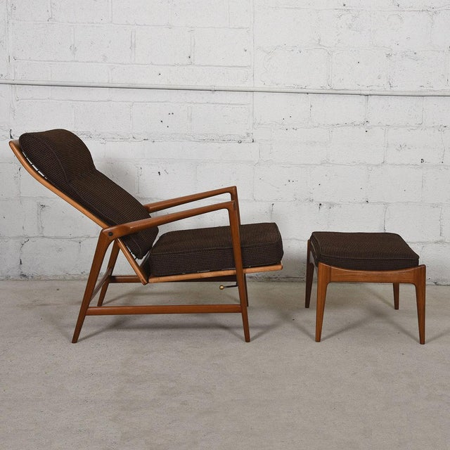 Kofod Larsen Danish Modern Teak Adjustable Lounge Chair with Ottoman - Image 5 of 10