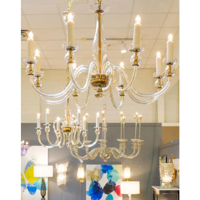 Italian Murano Amber Glass Eight-Arm Chandelier For Sale - Image 3 of 11