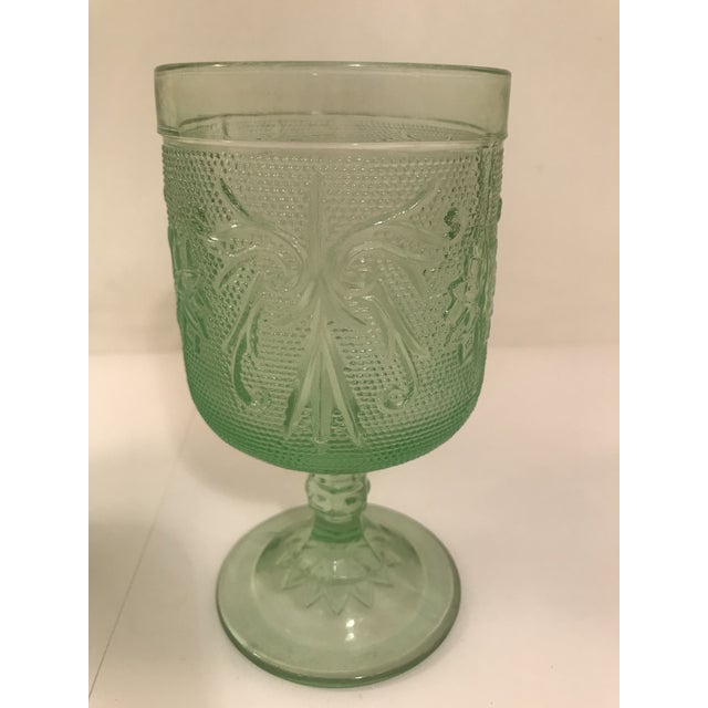Rare Vintage Ming Green Tiara Glass Wine or Water Goblets. Set of 5.