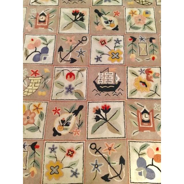Antique Arts & Crafts Hooked Rug - 5′10″ × 9′ - Image 4 of 6