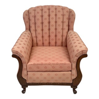Vintage Mahogany Channel Back Upholstered Parlor Chair For Sale