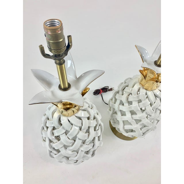 Mid-Century Modern Mid 20th Century Pineapple Motif Ceramic Lamps - a Pair For Sale - Image 3 of 8