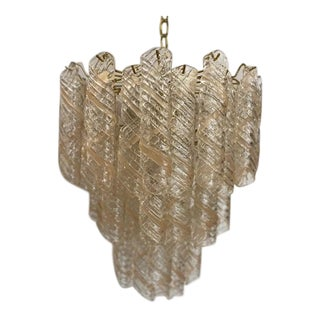 Murano Mazzega Mid-Century Modern Blush Chandelier For Sale