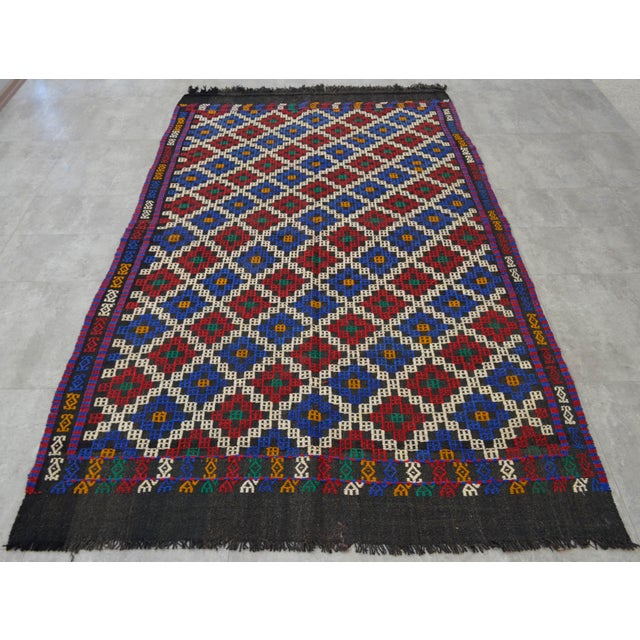"""1970s Hand-Woven Rug Kilim Braided Nomadic Rug - 5' X 8'4"""" For Sale - Image 5 of 12"""