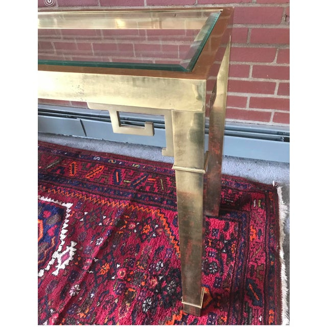 Metal Vintage Hollywood Regency Mastercraft Brass Greek Key Console Table For Sale - Image 7 of 8