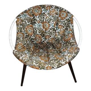 Mid Century Modern Floral Barrel Chair For Sale