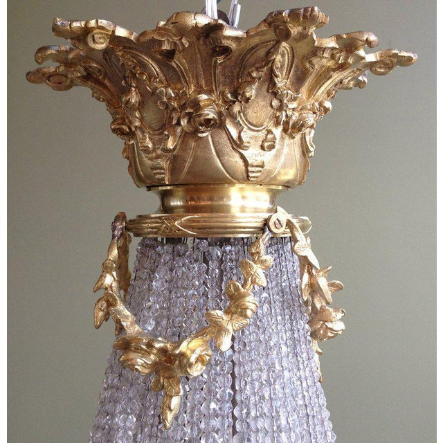 French Early 20th C French Bronze and Crystal Chandelier For Sale - Image 3 of 6