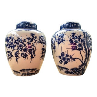 Vintage Chinoiserie Blue and White Transfer Cherry Blossom Ginger Jars - a Pair For Sale