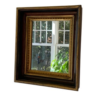 Antique American Walnut Wood With Gold Gilt Framed Wall Mirror For Sale
