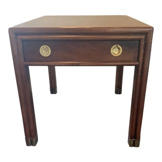 Henredon Campaign Side Table With Brass Pull For Sale