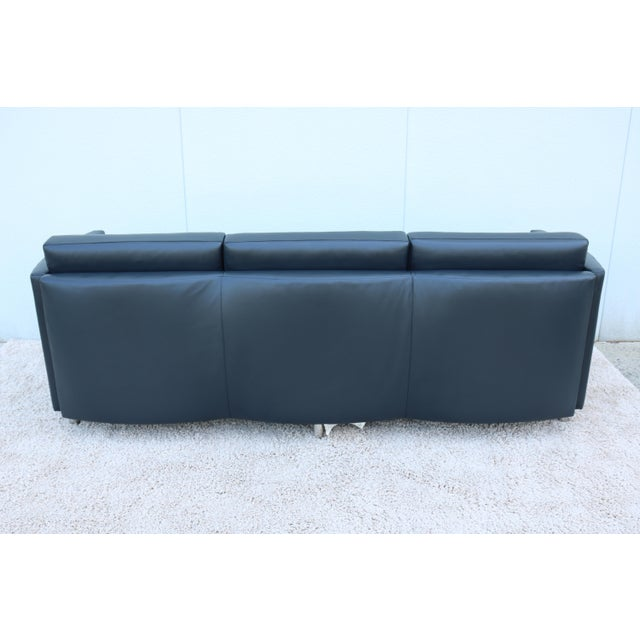 Modern Bernhardt Black Leather 3 Seater Sofa | Chairish