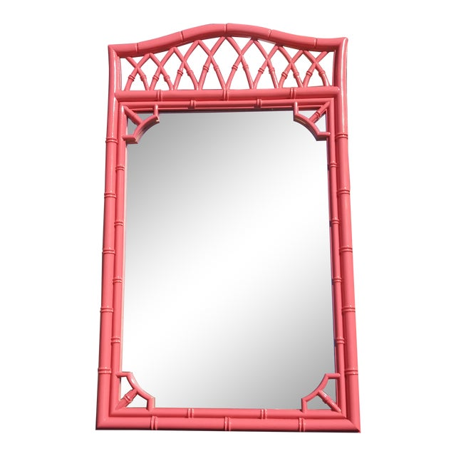 Palm Beach Flamingo Pink Faux Bamboo Wall Mirror For Sale