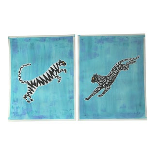 Abstract Leaping Leopard Pair by Cleo Plowden For Sale