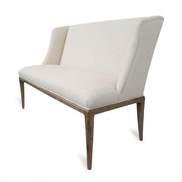 Washed Oak High Back Linen Bench For Sale - Image 4 of 7