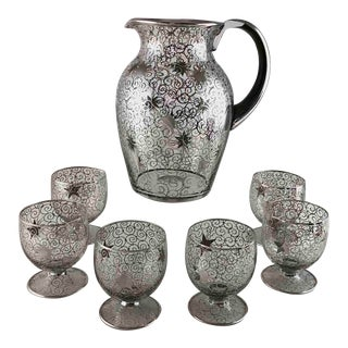 Mid 20th Century Mid Century Silver Overlay Star Pitcher With 6 Glasses - Saint Graal France - Set of 7 For Sale