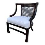 Image of Vintage Hollywood Regency Cane Barrel Back Chair For Sale