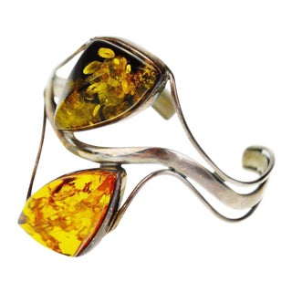 Vintage Sterling Silver Cuff Bracelet With Amber Stones For Sale