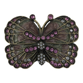 Rhinestone Brass Enameled Butterfly Trinket Box For Sale