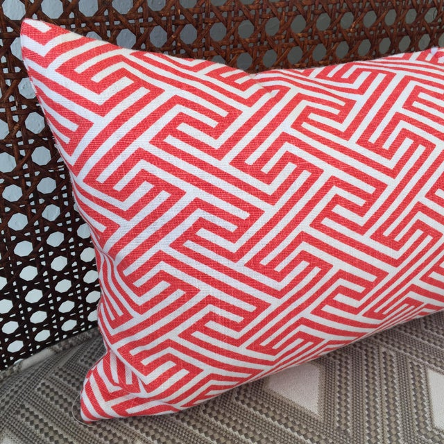 Flamingo Orange Graphic Geometric Kidney Pillow Cover For Sale - Image 4 of 6