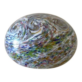 1960s Mid-Century Pastel Swirl Signed Glass Paperweight For Sale