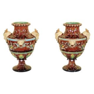 Majolica Urns, Bohemia Circa 1870 - a Pair For Sale