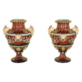 Pair of Majolica Urns, Bohemia, Circa: 1870 For Sale