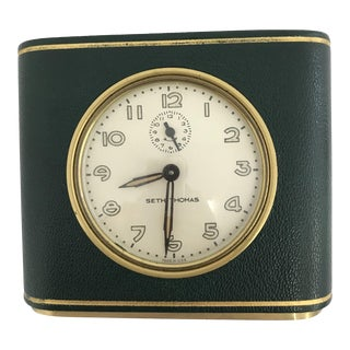Seth Thomas Green Leather With Gold Gilding Desktop Alarm Clock For Sale