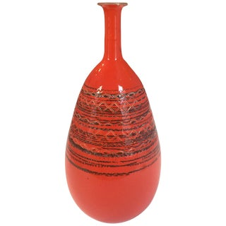 Vintage Orange Striated Ceramic Long Necked Tall Vase by Raymor For Sale