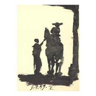 "Pablo Picasso Toros 14.5"" X 10.5"" Lithograph 1959 Cubism Black & White For Sale"