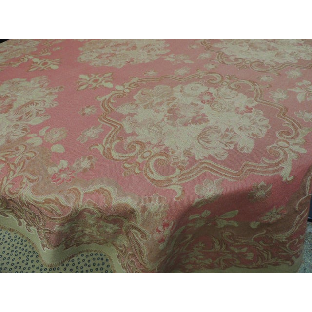 2000s Mulberry Woven Dusty Rose Floral Throw For Sale - Image 5 of 7