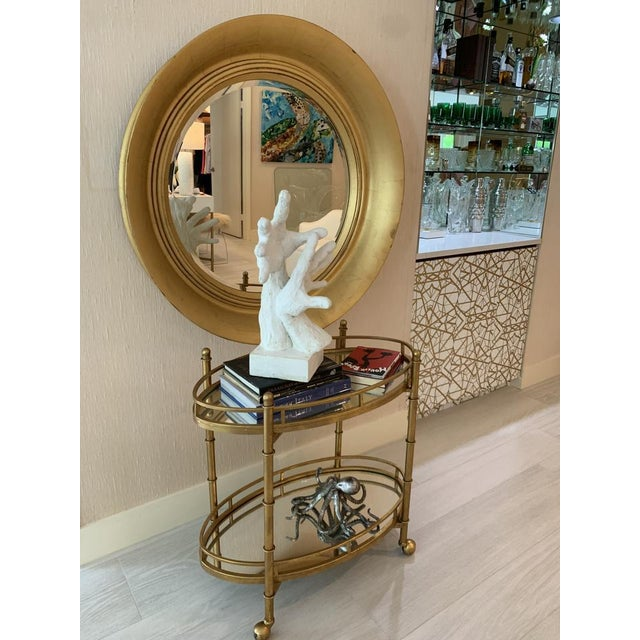 Contemporary Large Round Vintage Gold Leaf Mirror For Sale - Image 3 of 13