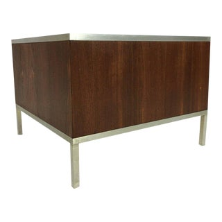Mid Century Modern Walnut and Steel Planter For Sale