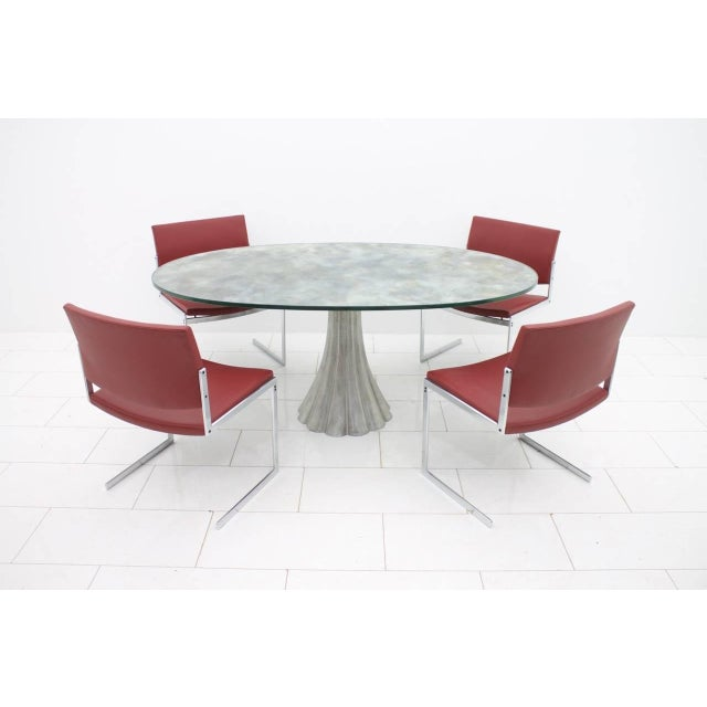 Glass Oval Dining Table With Mirrored Glass Top and Metal Base Italy 1960s For Sale - Image 7 of 11
