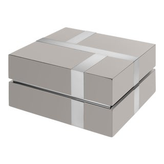 Flair Home Collection Righe Box in Taupe / Nickel For Sale