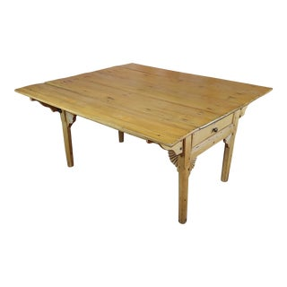 19th Century French Farmhouse Pine Drop Leaf Dining Table For Sale