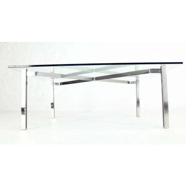 Poul Kjaerholm Mid-Century Modern Solid Chrome and Glass-Top Coffee Table by Kjaerholm For Sale - Image 4 of 6
