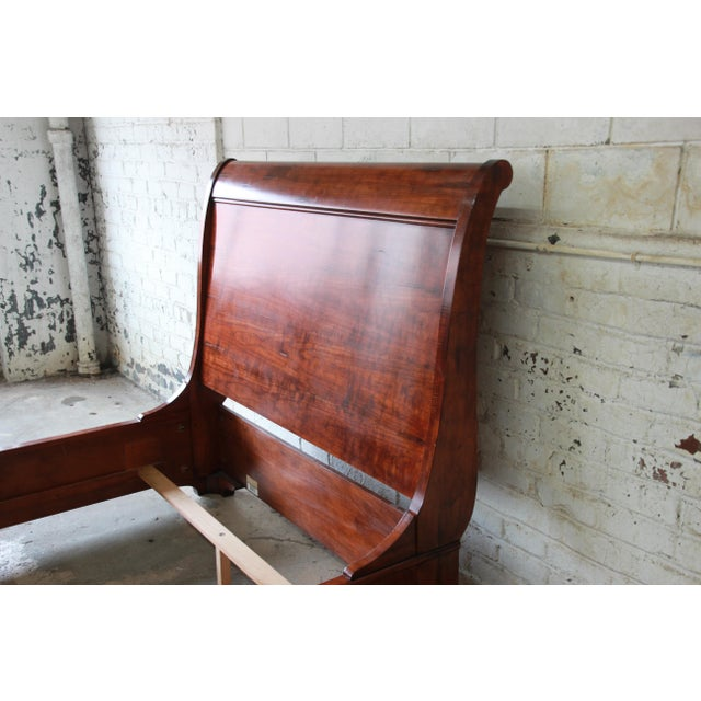 Henredon Aged Cherry Wood Queen Size Sleigh Bed For Sale In South Bend - Image 6 of 11