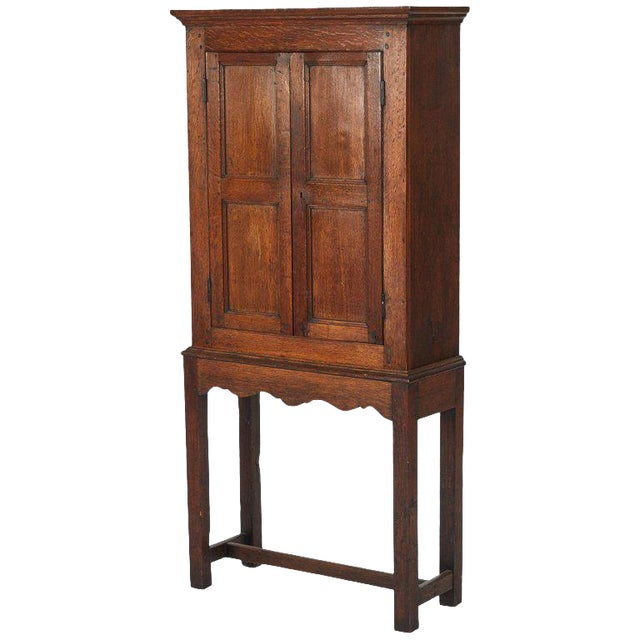 Oak Hall Cupboard on Stand For Sale
